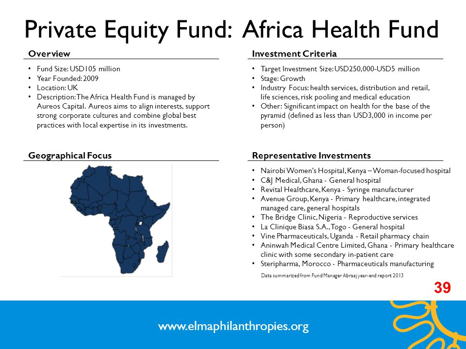 Private Equity Fund: Africa Health Fund