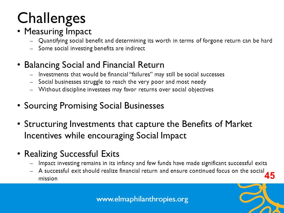 Challenges Measuring Impact Balancing Social and Financial Return