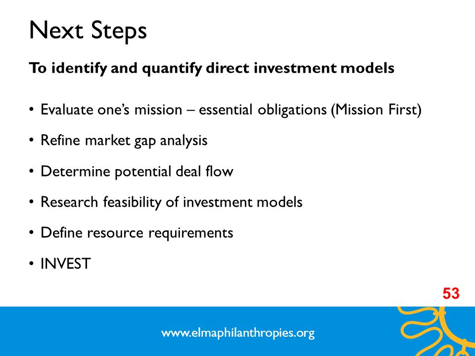 Next Steps To identify and quantify direct investment models