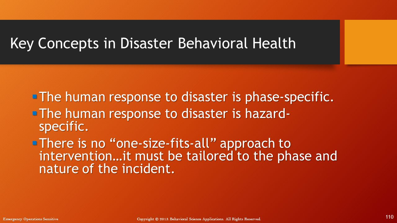 Key Concepts in Disaster Behavioral Health