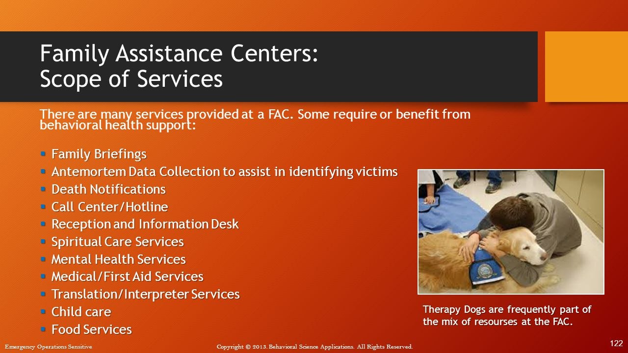 Family Assistance Centers: Scope of Services