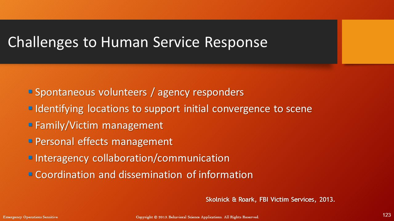 Challenges to Human Service Response