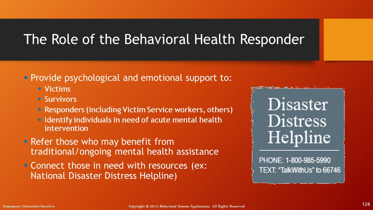 The Role of the Behavioral Health Responder