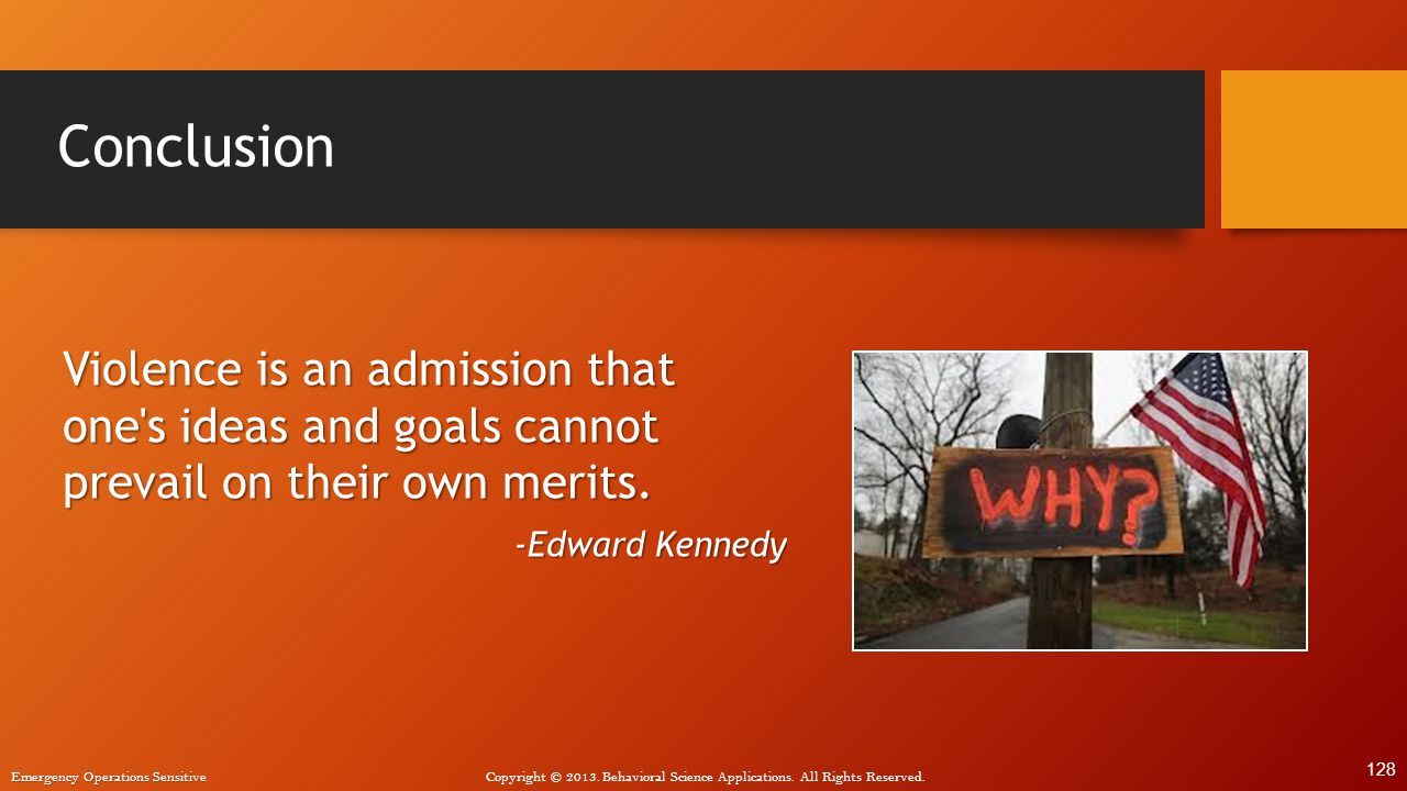 Conclusion Violence is an admission that one s ideas and goals cannot prevail on their own merits. -Edward Kennedy.