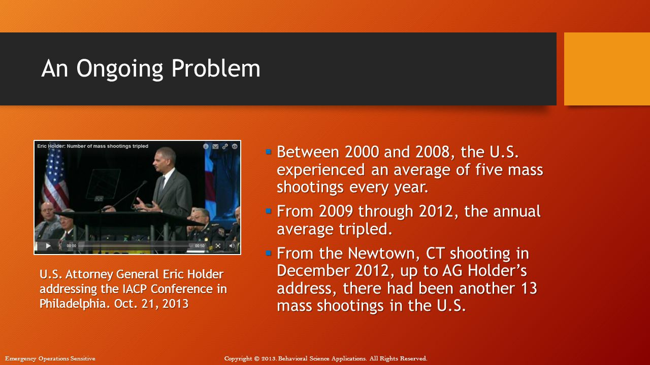 An Ongoing Problem Between 2000 and 2008, the U.S. experienced an average of five mass shootings every year.