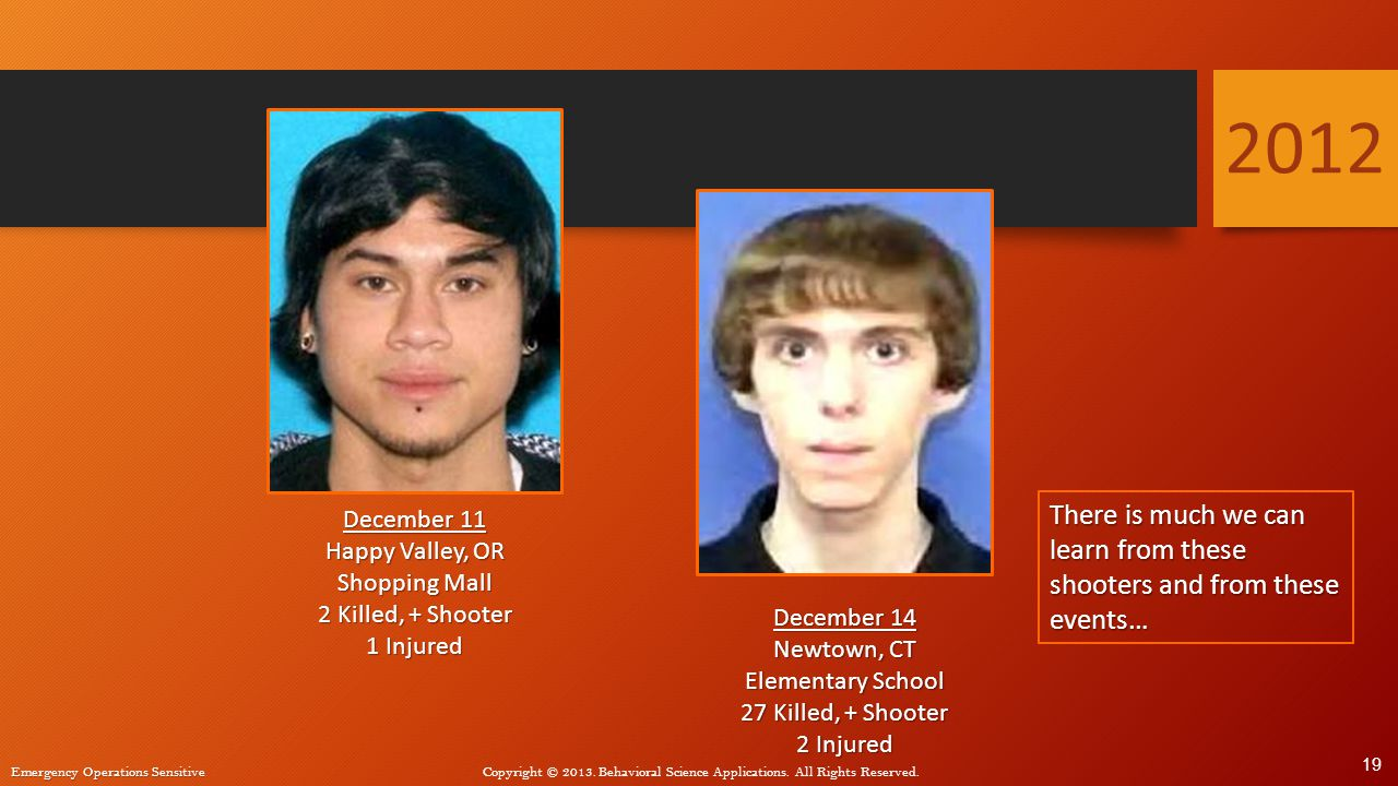 2012 December 11. Happy Valley, OR. Shopping Mall. 2 Killed, + Shooter. 1 Injured.