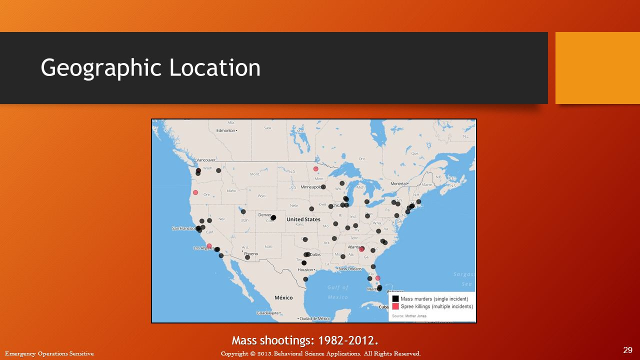 Geographic Location Mass shootings: 1982-2012. 29