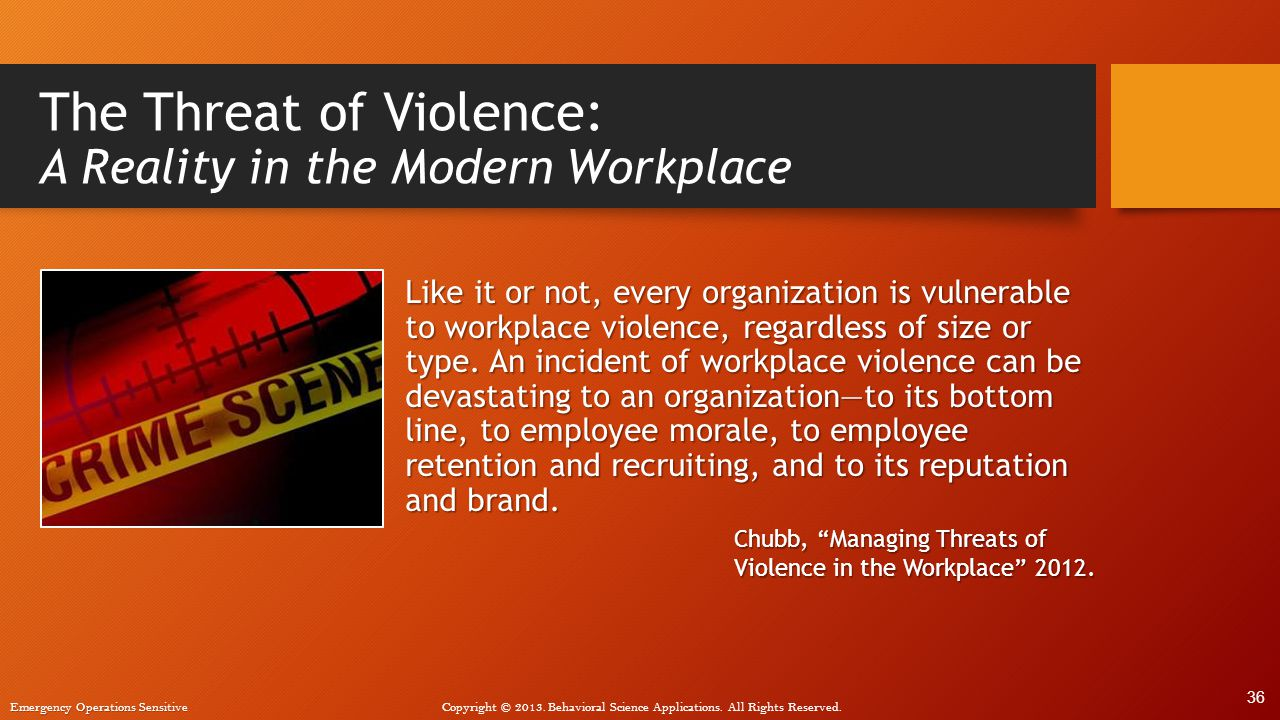 The Threat of Violence: A Reality in the Modern Workplace