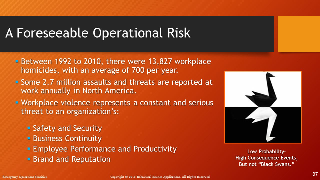 A Foreseeable Operational Risk