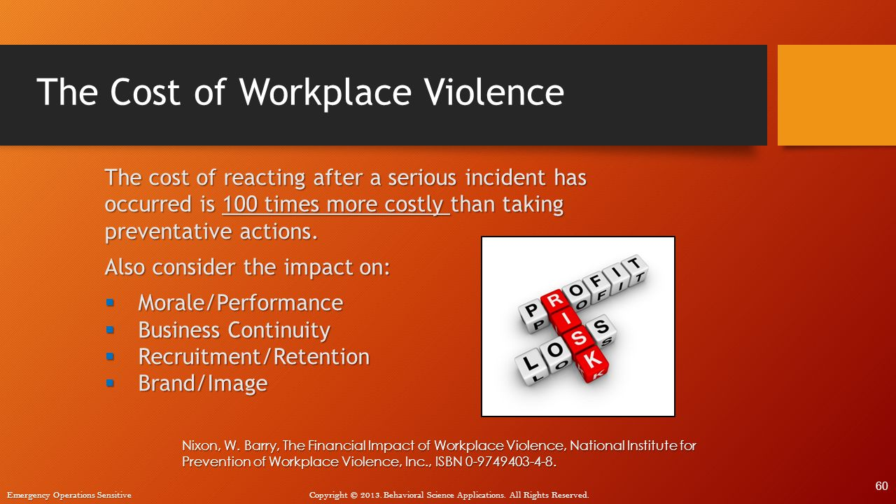 The Cost of Workplace Violence