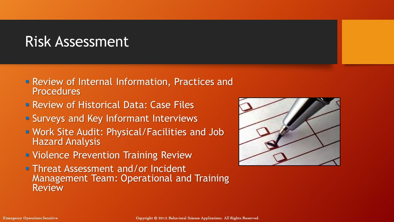Risk Assessment Review of Internal Information, Practices and Procedures. Review of Historical Data: Case Files.