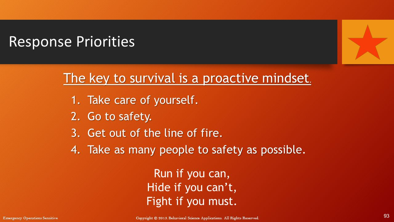 Response Priorities The key to survival is a proactive mindset.