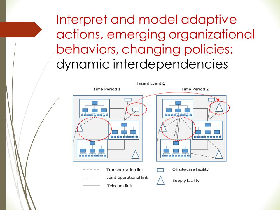 Interpret and model adaptive actions, emerging organizational behaviors, changing policies: dynamic interdependencies