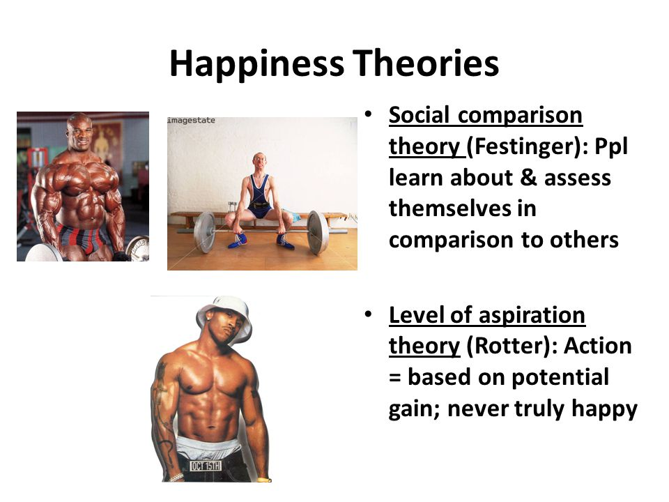 Happiness Theories Social comparison theory (Festinger): Ppl learn about & assess themselves in comparison to others.