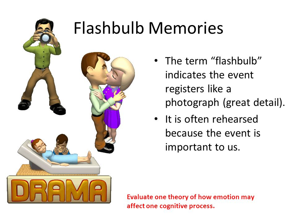 Flashbulb Memories The term flashbulb indicates the event registers like a photograph (great detail).