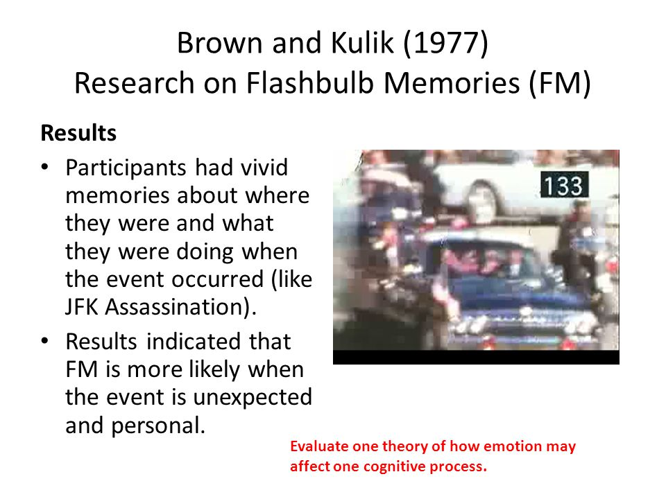 Brown and Kulik (1977) Research on Flashbulb Memories (FM)