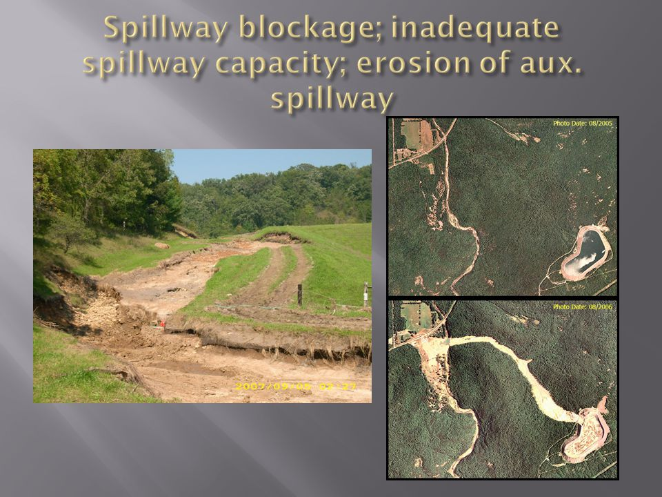 Spillway blockage; inadequate spillway capacity; erosion of aux