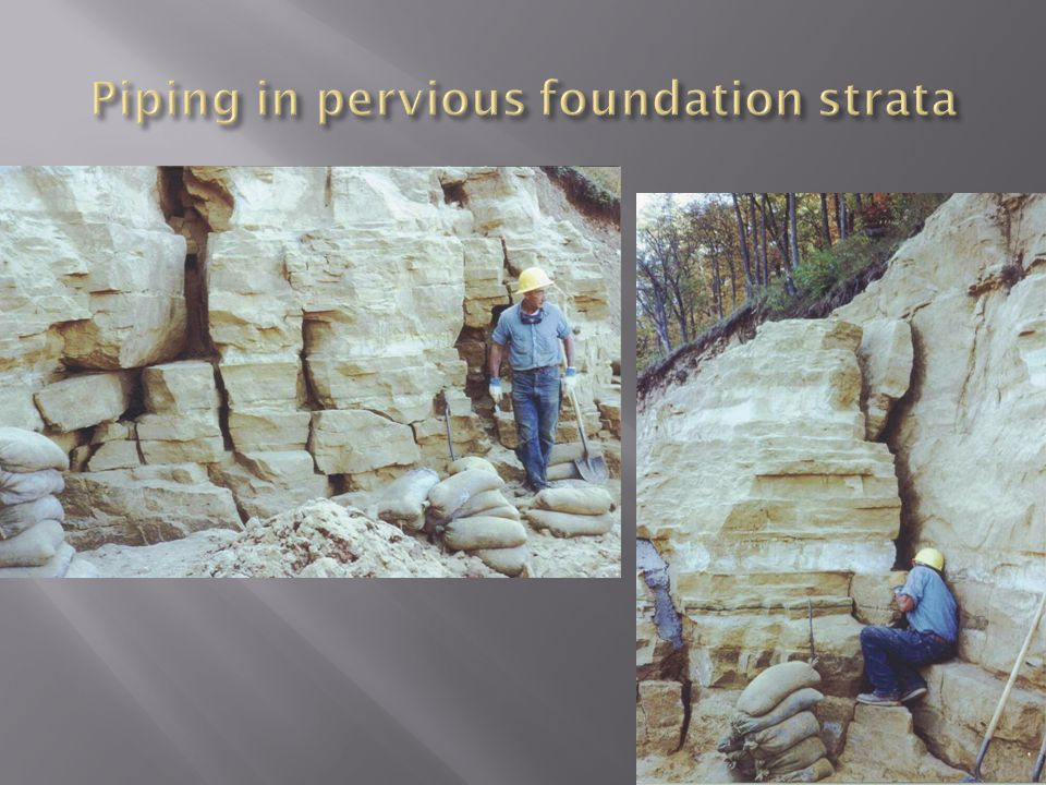 Piping in pervious foundation strata