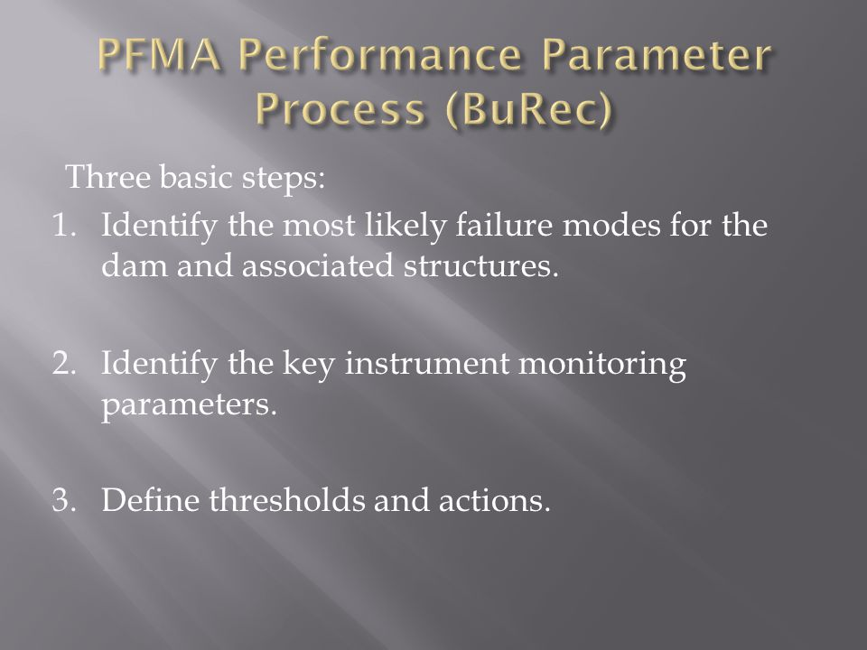 PFMA Performance Parameter Process (BuRec)