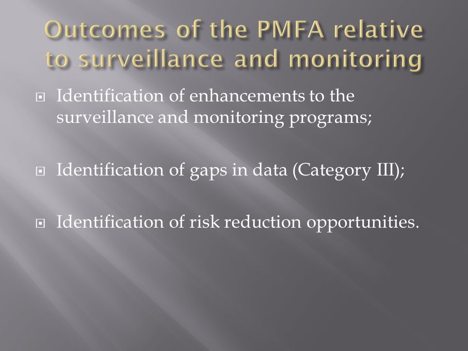 Outcomes of the PMFA relative to surveillance and monitoring