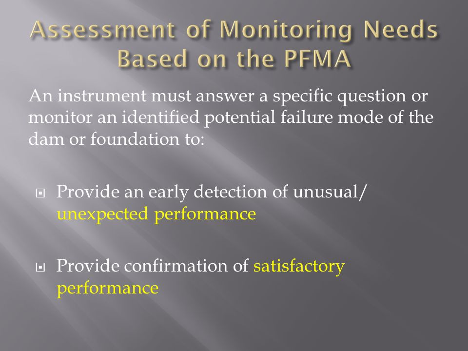 Assessment of Monitoring Needs Based on the PFMA