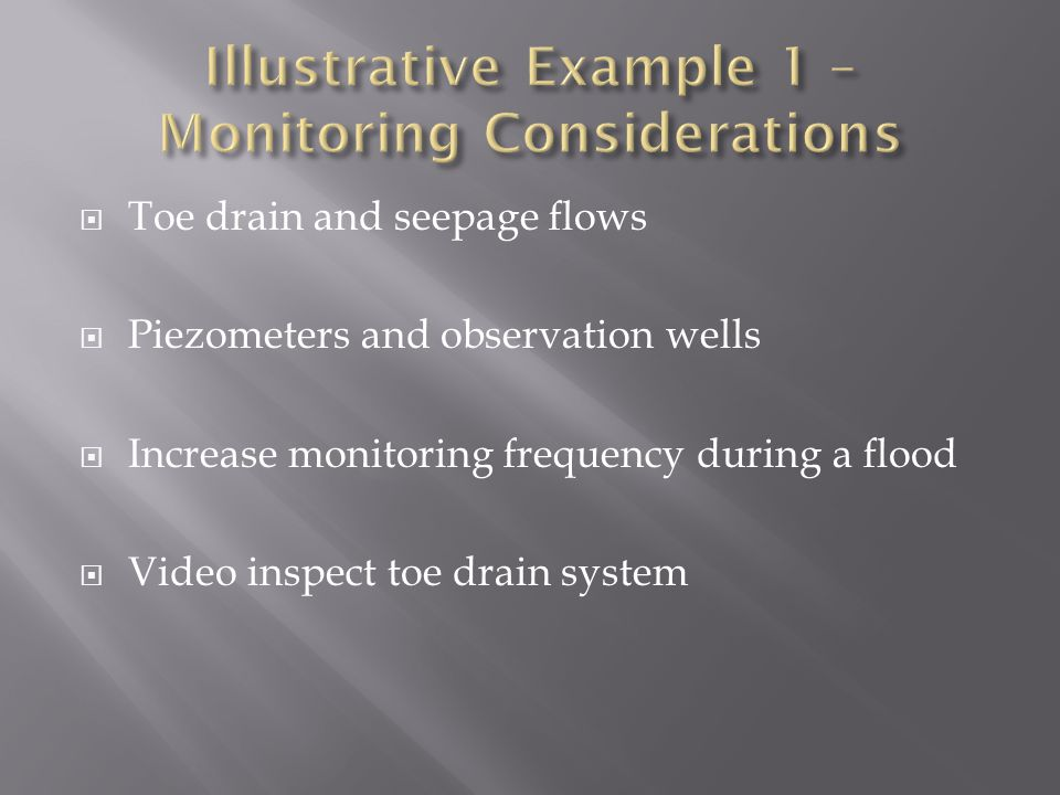 Illustrative Example 1 – Monitoring Considerations