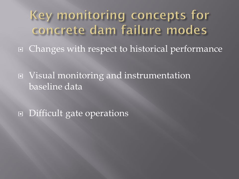 Key monitoring concepts for concrete dam failure modes