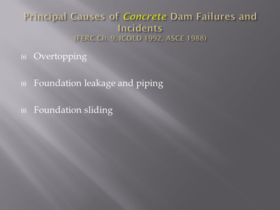 Principal Causes of Concrete Dam Failures and Incidents (FERC Ch