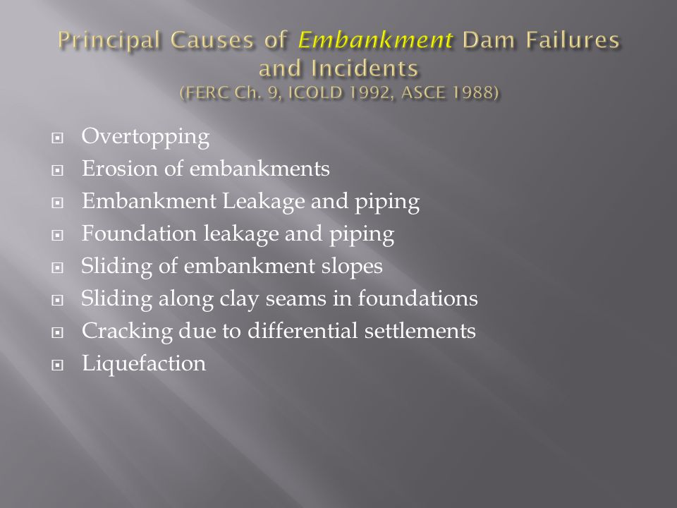 Principal Causes of Embankment Dam Failures and Incidents (FERC Ch