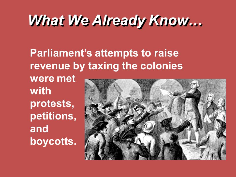 What We Already Know… Parliament's attempts to raise revenue by taxing the colonies were met. with.