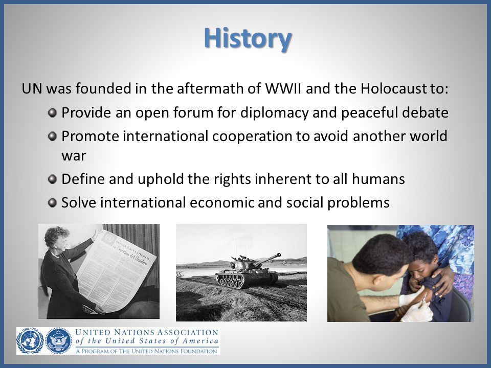 History UN was founded in the aftermath of WWII and the Holocaust to: