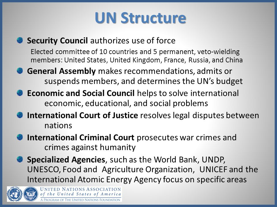 UN Structure Security Council authorizes use of force