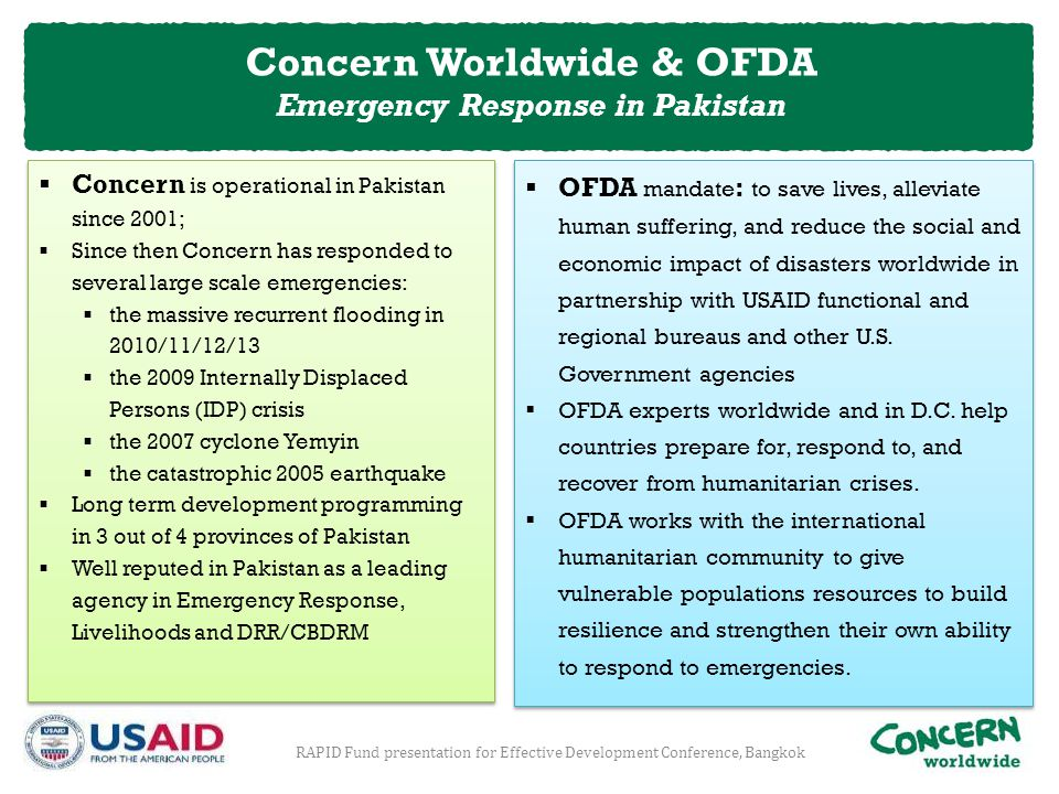 Concern Worldwide & OFDA Emergency Response in Pakistan