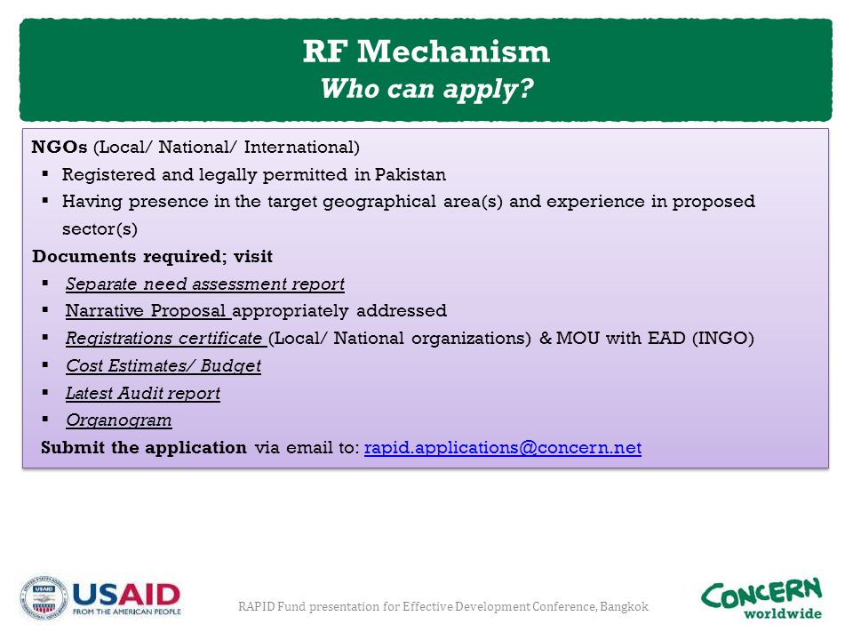 RF Mechanism Who can apply