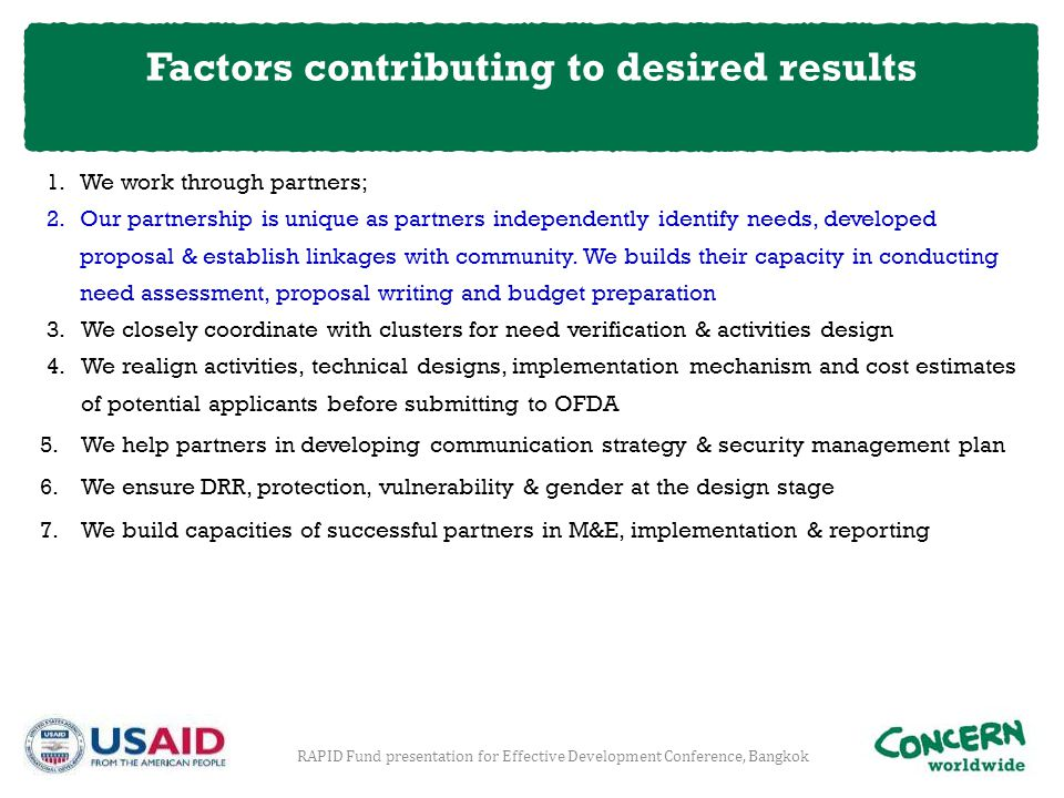 Factors contributing to desired results