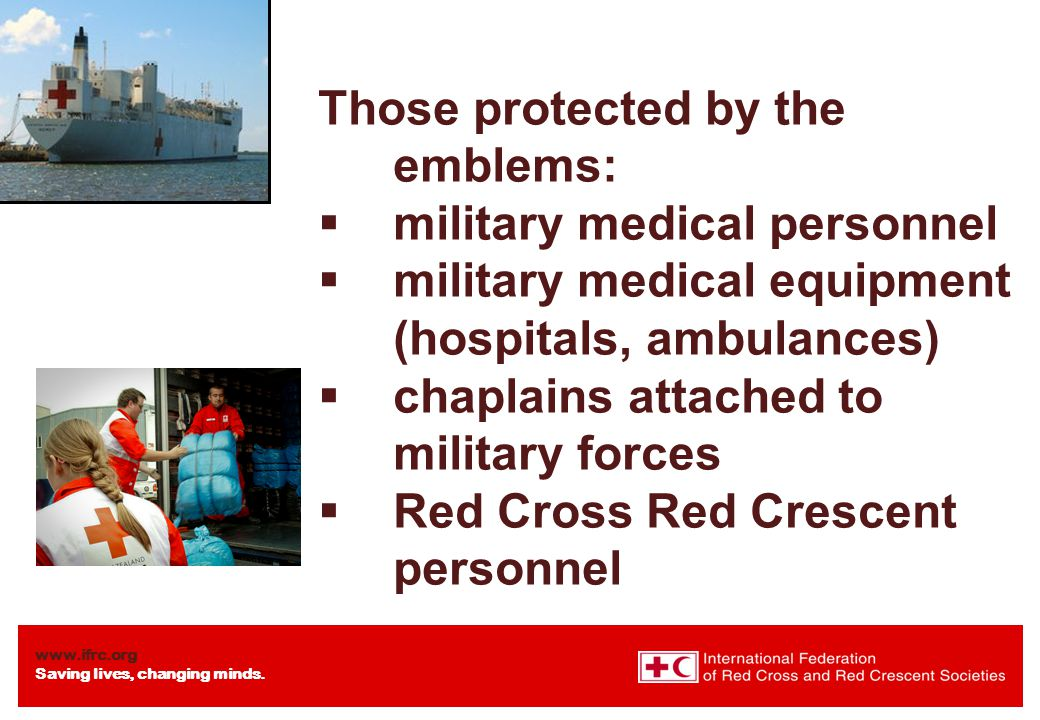 Those protected by the emblems: military medical personnel