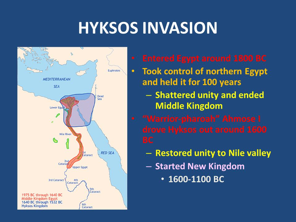 HYKSOS INVASION Entered Egypt around 1800 BC