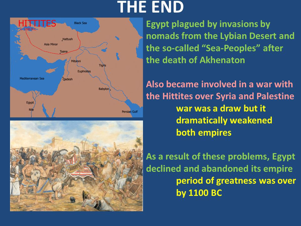 THE END Egypt plagued by invasions by nomads from the Lybian Desert and the so-called Sea-Peoples after the death of Akhenaton.