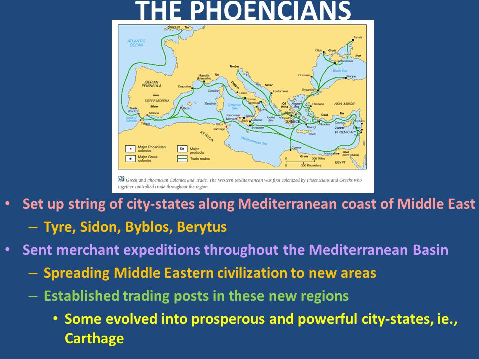 THE PHOENCIANS Set up string of city-states along Mediterranean coast of Middle East. Tyre, Sidon, Byblos, Berytus.
