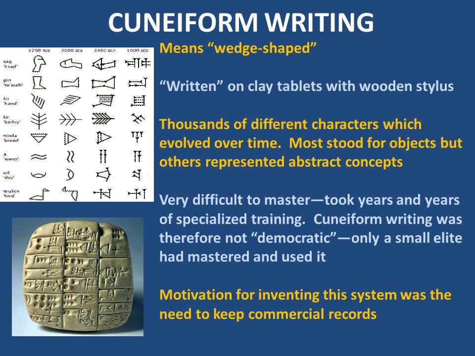 CUNEIFORM WRITING Means wedge-shaped