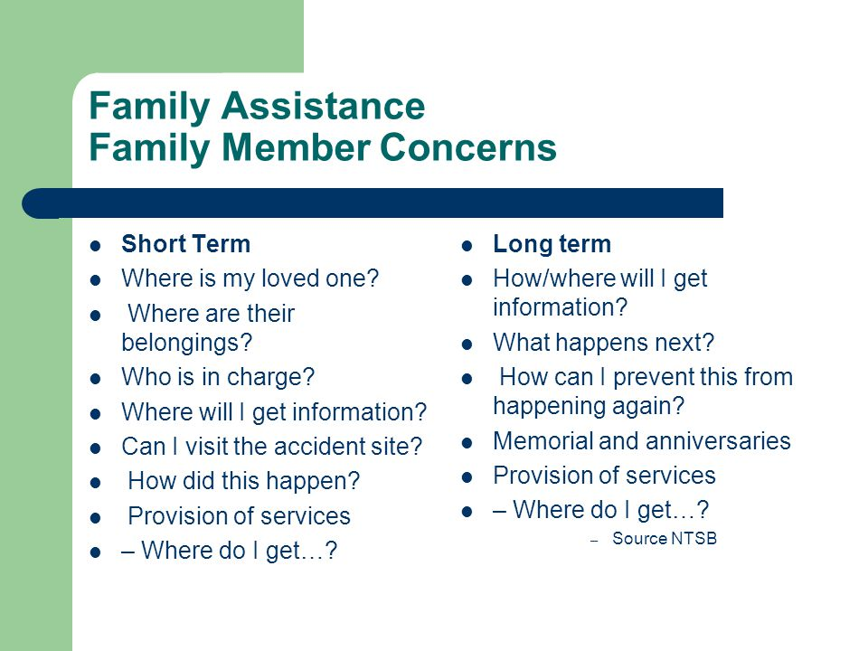 Family Assistance Family Member Concerns