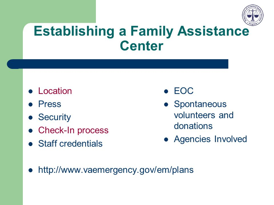 Establishing a Family Assistance Center
