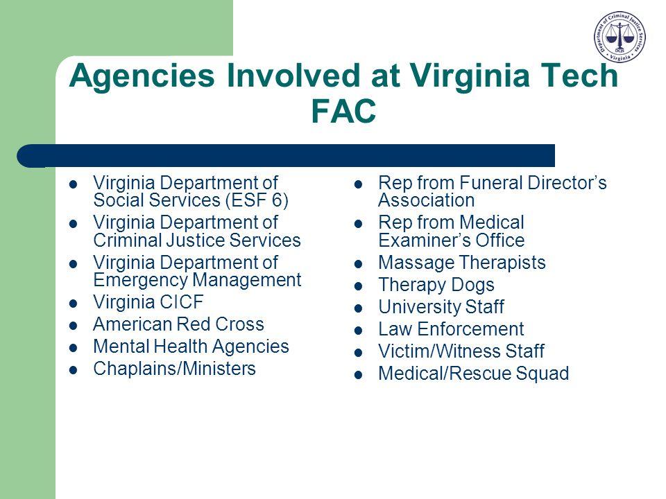 Agencies Involved at Virginia Tech FAC