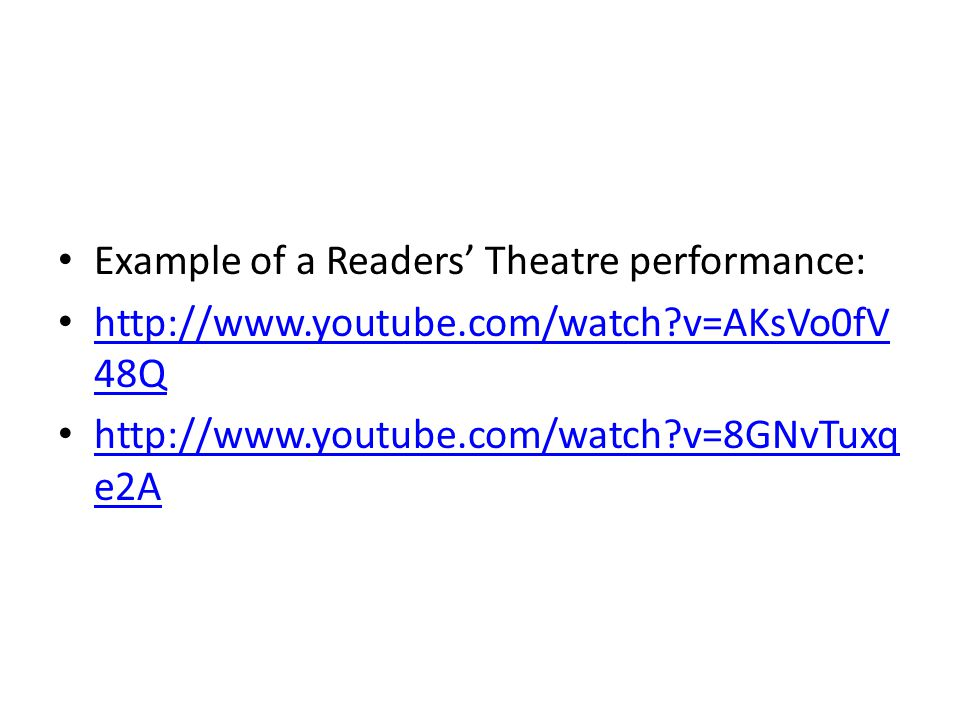 Example of a Readers' Theatre performance: