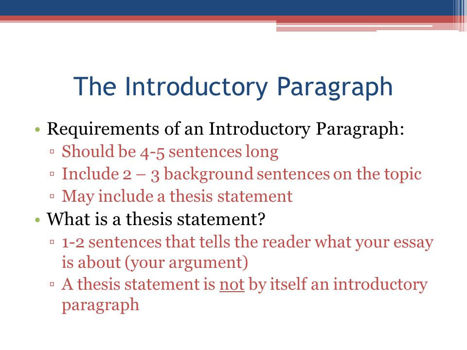 how to write an introductory paragraph In what order do i write the introductory paragraph even though the reader will  read the hook first, you actually write the thesis statement first type your thesis.