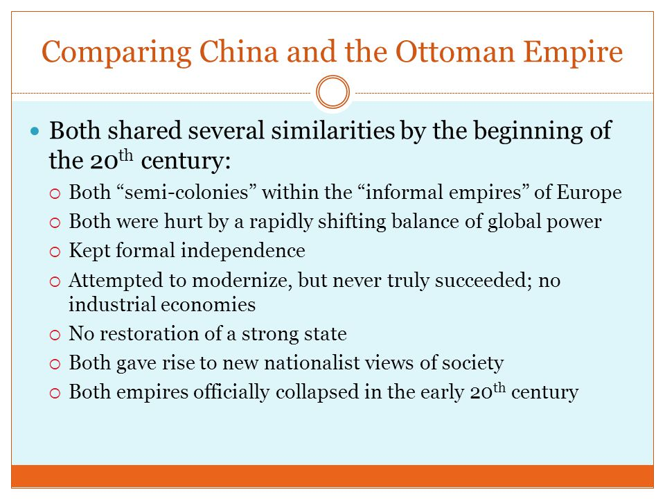 Comparing China and the Ottoman Empire