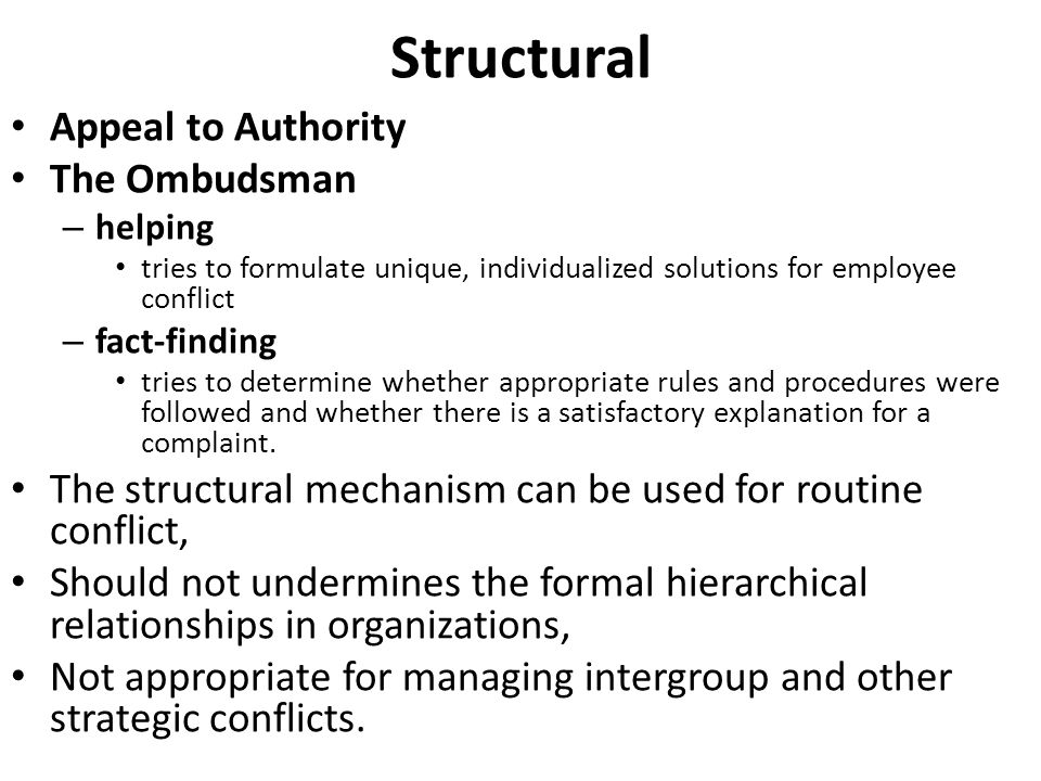 Structural Appeal to Authority The Ombudsman