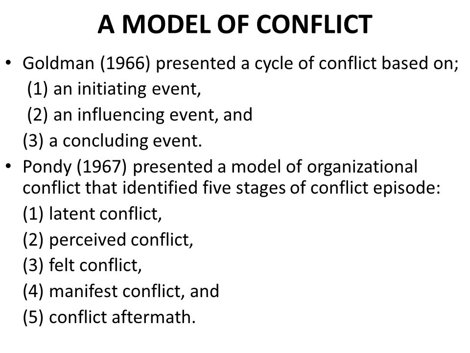 A MODEL OF CONFLICT Goldman (1966) presented a cycle of conflict based on; (1) an initiating event,