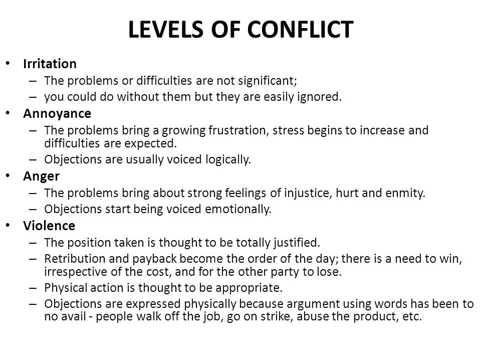 LEVELS OF CONFLICT Irritation Annoyance Anger Violence