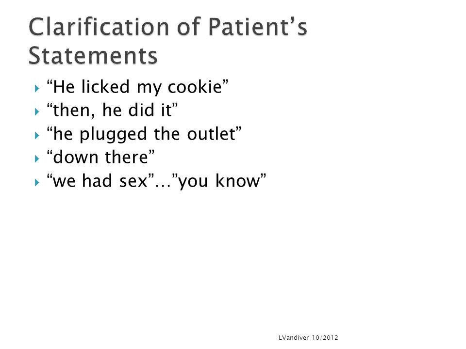 Clarification of Patient's Statements